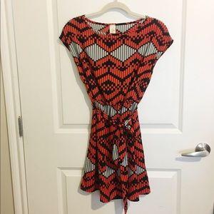Tini Lili for Anthro Orange & Black printed dress